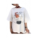 Abstract Graffiti Printed Round Neck Short Sleeve Tee