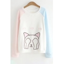 Color Block Cat Fish Embroidered Round Neck Long Sleeve Sweatshirt