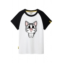 Color Block Short Sleeve Cat Printed Round Neck Tee
