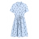 Rabbit Printed Lapel Collar Short Sleeve Drawstring Waist Midi A-Line Dress