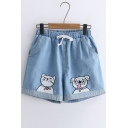 Cat Dog Embroidered Drawstring Waist Denim Shorts