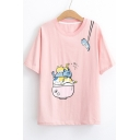 Bowl Cats Printed Round Neck Short Sleeve Tee