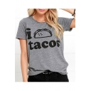 I TACOS Letter Printed Round Neck Short Sleeve Tee