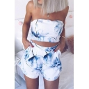 Floral Printed Crop Bandeau with Elastic Waist Loose Shorts Co-ords