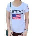 ASTIMD letter American Flag Print Round Neck Short Sleeve Tee