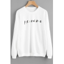 FRIENDS Letter Printed Round Neck Long Sleeve Sweatshirt