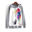 Colorful Painting Horse Printed Color Block Raglan Long Sleeve Hoodie