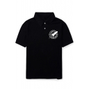 Letter Rocket Printed Short Sleeve Polo Shirt Tee