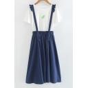 Frill Hem Elastic Waist Plain Midi Overall Skirt