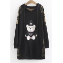 Color Block Camouflage Printed Bear Embroidered Long Sleeve Tunic Hoodie