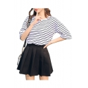 Basic Striped Printed Round Neck Short Sleeve Tee