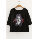 Chinese Cartoon Character Printed Round Neck Short Sleeve Hooded Tee