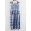 Blue Floral Printed Round Neck Sleeveless Midi Dress