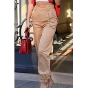 Elastic Waist Chain Embellished Loose Plain Pants