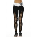 Fashion Geometric Printed Hollow Out Front Skinny Leggings