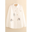 Koala Beer Embroidered Lapel Collar Long Sleeve Buttons Down Shirt