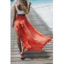 Ruffle Detail Split Front Plain Elastic Waist Maxi Asymmetric Hem Skirt