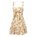 Floral Printed Tied Front Spaghetti Straps Sleeveless Mini Cami Dress