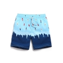 Blue and Navy Funny Color Block Surfing Cartoon Swim Shorts Bathing Suit for Male with Lined Side Pockets