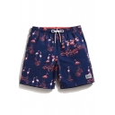 Big and Tall Short Flamingo Best Navy Blue Swim Trunks with Brief Liner
