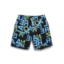 Quick Dry Black Stretch Men's Letter Printed Bathing Suit Shorts with Mesh Lining Pockets