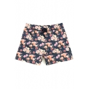 Awesome Men's Navy Blue Blossom Rose Print Swim Trunks with Mesh Brief Lining