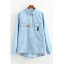 Cat Embroidered Lapel Collar Long Sleeve Buttons Down Shirt