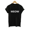 MEOW Letter Printed Round Neck Short Sleeve Tee