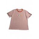 Orange Milk Ice Cream Letter Printed Contrast Round Neck Short Sleeve Tee