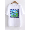 Cartoon Landscape Printed Round Neck Short Sleeve Tee