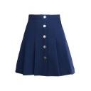 Plain Buttons Down High Waist Mini A-Line Pleated Skirt