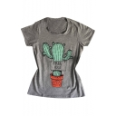 FREE HUGS Letter Cactus Printed Round Neck Short Sleeve Tee