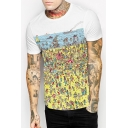 Cartoon Beach Scene Printed Round Neck Short Sleeve Tee