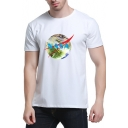 NASA Letter Earth Printed Round Neck Short Sleeve Tee