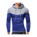 Men's Slim Color Block Long Sleeve Hoodie