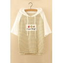 Color Block Plaid Printed Letter Fruit Embroidered Short Sleeve Hooded Tee
