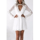 Lace Insert V Neck Long Sleeve Hollow Out Mini A-Line Dress
