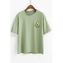 Avocado Letter Embroidered Round Neck Short Sleeve Tee