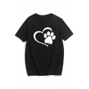 Cat's Paw Heart Printed Round Neck Short Sleeve Tee