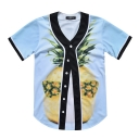 3D Pineapple Printed Short Sleeve Buttons Down Baseball Tee