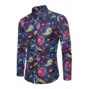 Fashion Floral Printed Lapel Collar Long Sleeve Buttons Down Slim Shirt