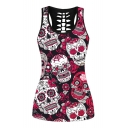 Skull Floral Printed Round Neck Hollow Out Back Sleeveless Tank
