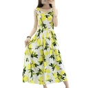 Lemon Printed Round Neck Sleeveless Maxi A-Line Dress