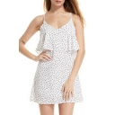 Polka Dot Printed Spaghetti Straps Sleeveless Mini A-Line Cami Dress
