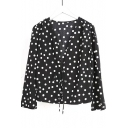 Polka Dot Printed V Neck Long Sleeve Blouse