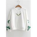Cute Embroidered Round Neck Drawstring Embellished Long Sleeve Sweatshirt