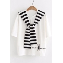 Striped Sailor Collar Short Sleeve Letter Rabbit Embroidered Tee