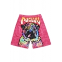 Mens Designer Elastic Drawcord Neon Pink Stretch Swim Trunks with Dog Letter Print