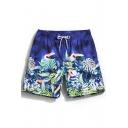 Men's Unique Blue Drawcord Bird Leaf Printed Swim Trunks Shorts with Back Pocket