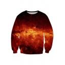 Fashion Magma Pattern Long Sleeve Casual Unisex Pullover Sweatshirt